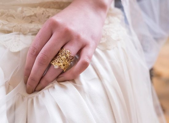 Bride with ornate wedding ring