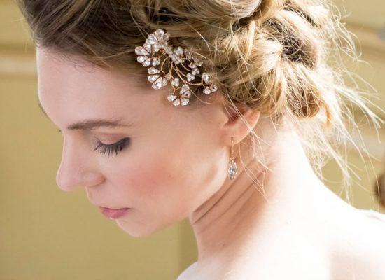 Bride with flower hair piece