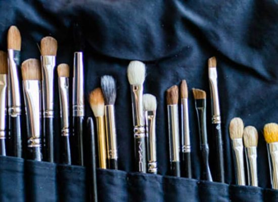 Make up brushes all set to help the blushing bride prepare for her Hale Park wedding