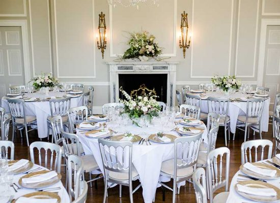 Wedding reception tables and place settings