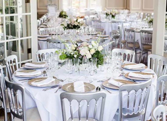 Wedding reception and flower centre-piece
