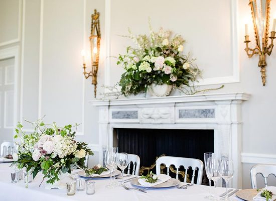 Top table and fireplace