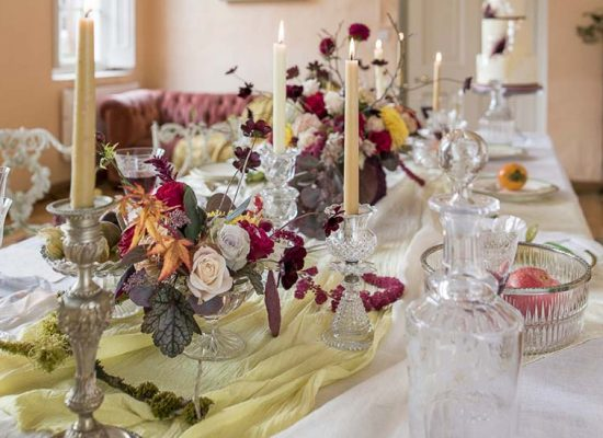 Wedding reception table and candles