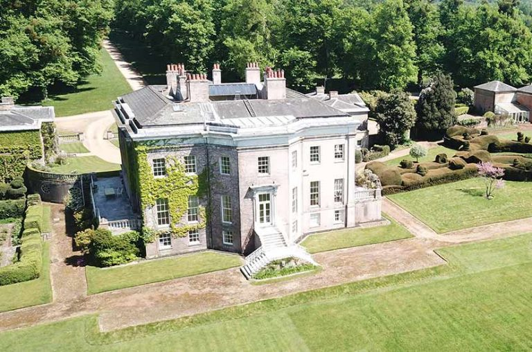 An aerial view of the rear of Hale Park house and grounds