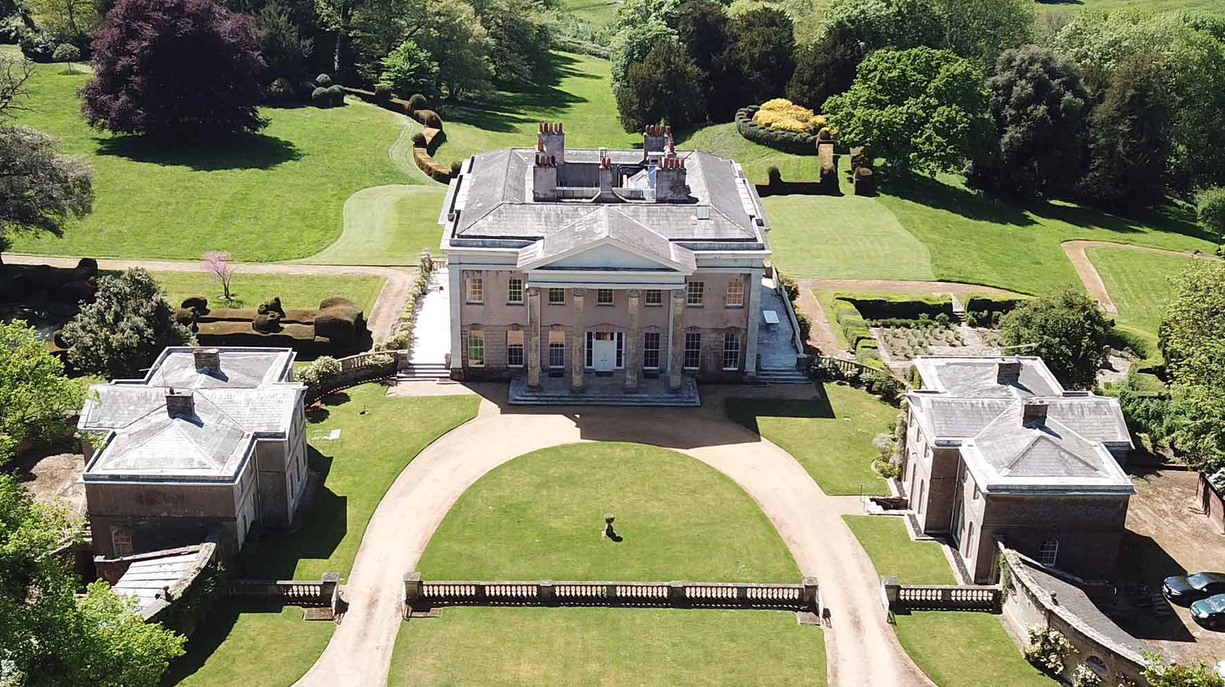 An aerial view of Hale Park House