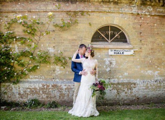 Couple with Hale Park Church sign