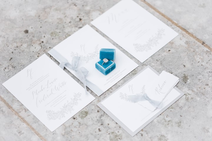 Peony and roes wedding stationery