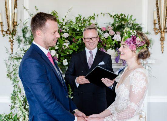 Bride and Groom commit at Hale Park weddings